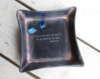 Third Anniversary Gift Leather Tray. Emily Bronte in Cinder.