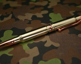 Rifle Cartridge Bullet Pen with 308 Caliber Military Brass Casings