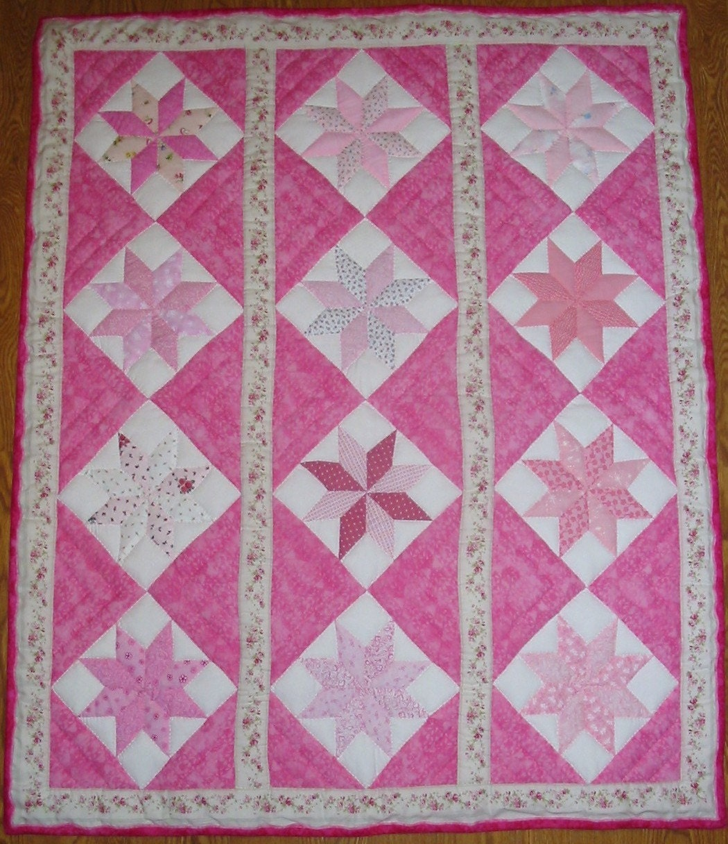 Crib Quilt Size: Crib Size New Quilt Star In Rows Pattern In By