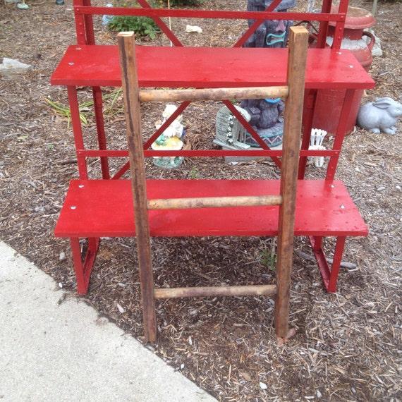 L4 Repurposed Vintage 3 Rung Round Step Wooden Ladder Rustic
