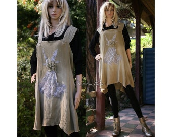 Antonia - Bohemian Hand Dyed Pinafore Dress with Appliques Ombre Lagenlook Plus Size Tunic OOAK