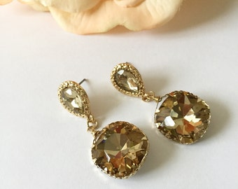 Champagne Tear Drop Circle Bridal Earrings