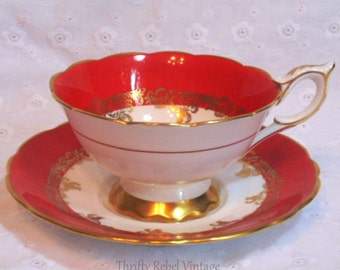 Vintage Red Royal Stafford Bone China Teacup and Saucer Set Made in England
