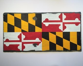 Maryland, My Maryland; Maryland State Flag Hand Painted on a Reclaimed Slate Roof Shingle