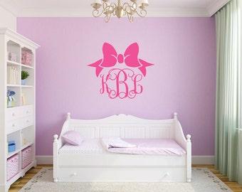 Monogram Wall Decal With Bow Monogram Vinyl Decal Bow Wall Decal Bow Decal Nursery Wall Decal Bedroom Wall Decal Vinyl Wall Monogram