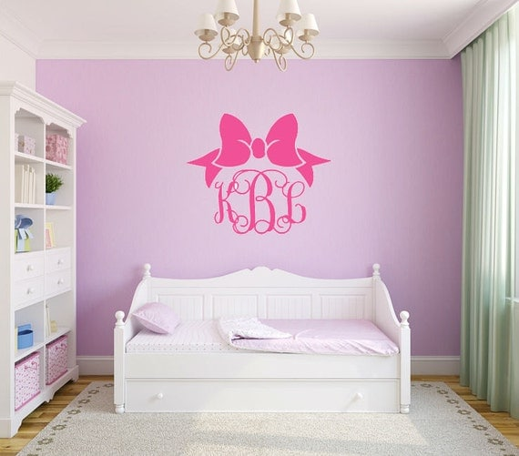 Monogram Wall Decal With Bow Monogram Vinyl Decal Bow Wall Decal Bow Decal Nursery Wall Decal Bedroom Wall Decal Vinyl Wall Monogram