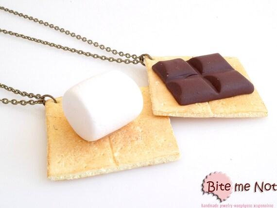 Mini Food S'mores Friendship Necklaces, Best Friends Necklace, BFF Jewelry, Food Jewelry, Polymer Clay Jewelry, Kawaii Jewelry
