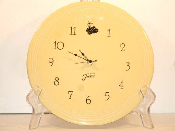 Fiesta Ware Clock Yellow Pottery Plate Wall Hanging Battery
