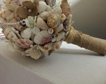 Xo bouquet wedding sea shell beach bouquet