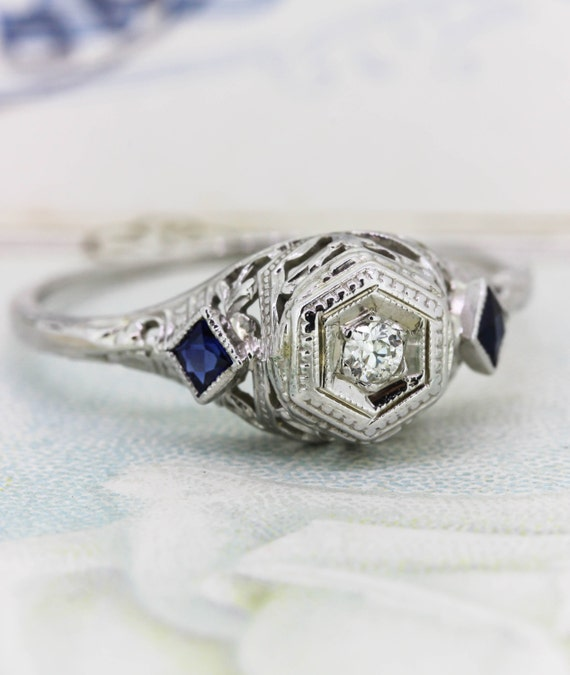 reserved antique sapphire engagement ring dainty deco