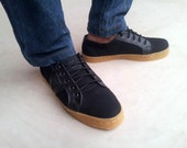 black canvas and black leather shoes handmade Rangkayo casual sneakers Preorder unisex shoes