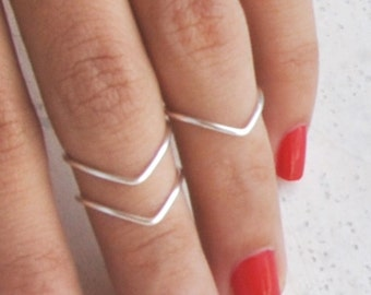FLASH SALE 3 Silver / Gold Above Knuckle Rings / chevron midi ring & 1 band / gold rings // thin rings // set of 3 stackable midi rings