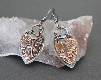 copper earrings - mixed metal earrings - silver and copper earrings - bohemian earrings - boho mixed metal earrings  - lightweight earrings