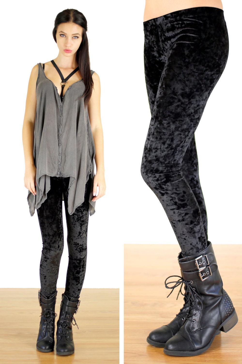 90u0026#39;s Grunge Black Crushed Velvet Leggings