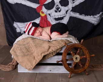 Baby Crochet Set, Pirate Newborn Set, Pirate Baby Diaper Cover and Beanie, Crochet Baby Set, Photo Prop, Newborn Set