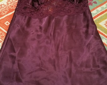 VINTAGE 80's Fredrick's Of Hollywood Royal PURPLE Babydoll/Chemise Size Small NEVER worn!