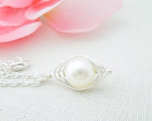 Peapod Necklace, Ivory Pearls, Silver Wire Wrapped, Birthstone Necklace, Mom Necklace, Bridesmaid Necklace, Friend Necklace