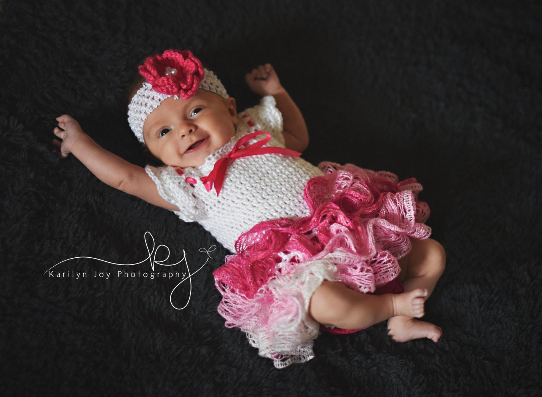 Crochet baby dress with ruffle skirt newborn tutu dress