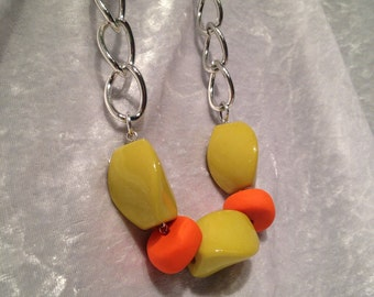 Lime Geeen and Orange Statement Necklace
