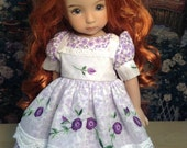 """Effner Little Darling 13"""" Doll.  Purple rosebud print with vintage organdy apron and embroidery. Can be custom sized for other dolls."""