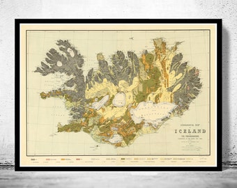 Old Map of Iceland islandia 1898 Geological map