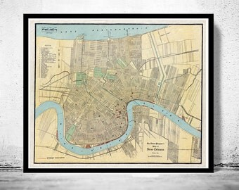 Old Map of New Orleans,  United States 1919