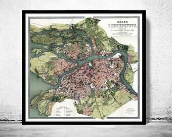 Old Map of  S. Petersburg S. Peterburga Plan Russia Saint Petersburg  antique 1880