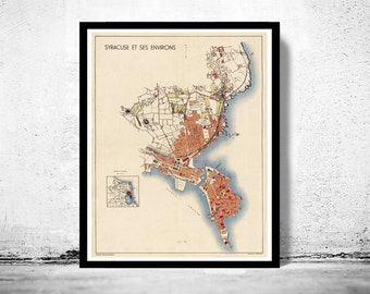 Old Map of Syracuse Sicily, Italia 1930 Siracusa