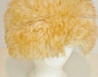 Vintage Italian Lamb Fur Shaggy Hat Fluffy After Ski Cossack Hat Warm Sheepskin Retro Mid Century High Fashion F7