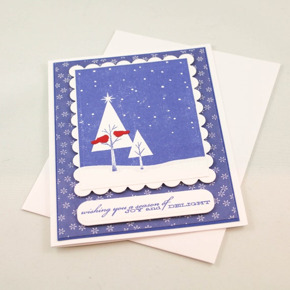 Handmade christmas card unique christmas card by triocards for Cool xmas cards