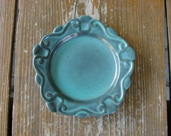 Vintage Swedish Upsala Ekeby GEFLE Art Deco salad dessert plate in green / Scandinavian art collectible porcelain ceramic plate /
