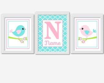 Bird Nursery Art Pink Aqua Personalize Name Art Bird Nursery Prints Baby Nursery Decor Baby Girl Nursery Wall Art Nursery Print