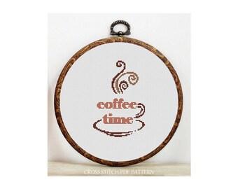 Coffee-Cross Stitch Pattern-Modern Sampler-Pdf-Instant Download