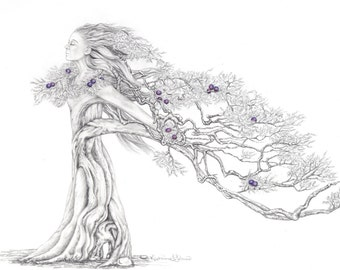 "Limited Edition Print ""Juniper"", Graphite drawing of a tree/woman"