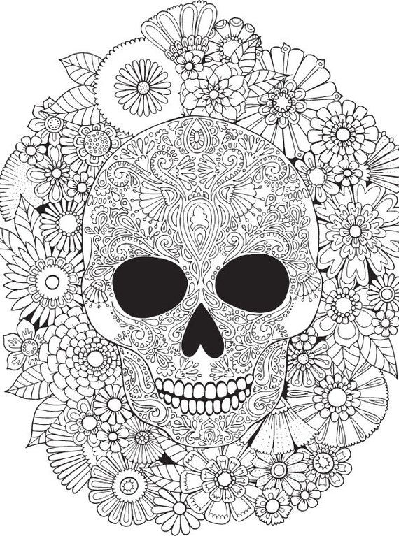 Floral skull colour with me hello angel by helloangelcreative for Mexican coloring pages for adults
