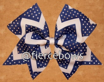 Choose Your Colors Rhinestones Chevron Cheer Bow