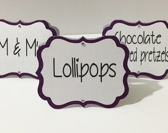 Candy Buffet Tags, Tent Candy Labels, Glitter Candy Labels