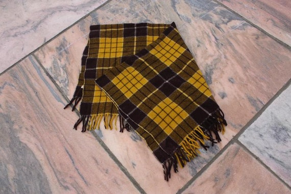 Plaid Wool Blanket Yellow Amp Brown Picnic By Besosvintage