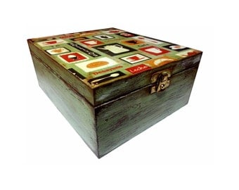 Coffee - Tea Decoupage Box - Vintage Style Pattern-Distressed -Shabby-Eucalyptus Green and Brown-Personalized Gift Box