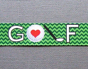 "Decorative GOLF Design on 7/8"" Green Chevron Grosgrain Ribbon - 3 Yards"
