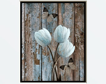 Rustic Brown Blue Wall Pictures, , Country Rustic Floral Farmhouse Theme, Brown Blue Pictures, 8x10 Matted to 11x14 White Mat