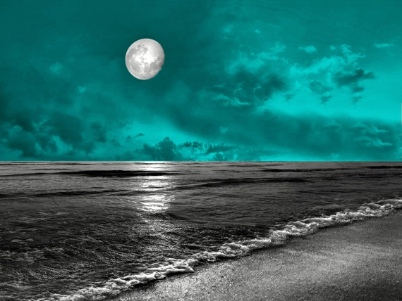 Teal Gray Wall Art Photography Ocean Moon Seascape Bedroom