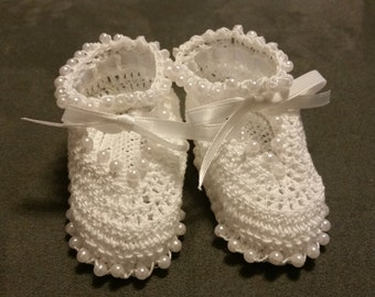 Crochet Beaded Mary Jane Booties