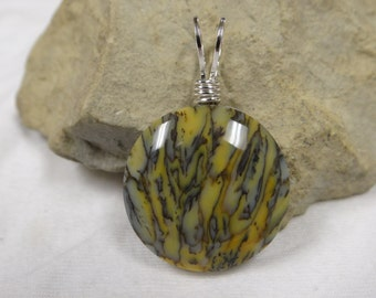 Dendritic opal Groove Wire Wrapped Pendant
