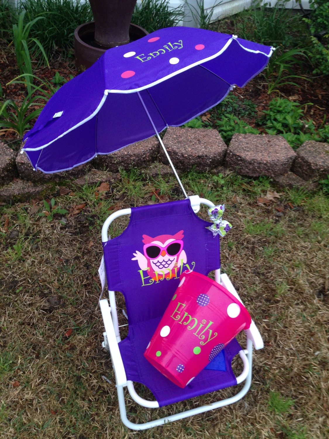 persoanlized kids beach chair with umbrella by southernsassstyle. Black Bedroom Furniture Sets. Home Design Ideas