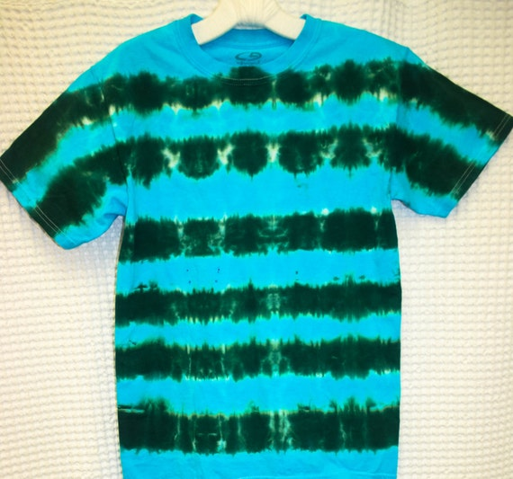 Tie Dye Shirt/Adult T-Shirt/Short Sleeve/Green & Blue/Eco-Friendly Dying