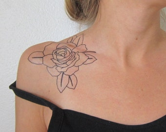 BW Rose Hand Drawn Large Temporary Tattoo