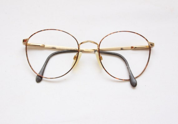 rare 80s vintage lens crafters john lennon style metal tortoise round frames mens