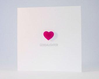Goddaughter Card with Pink detachable Heart magnet keepsake