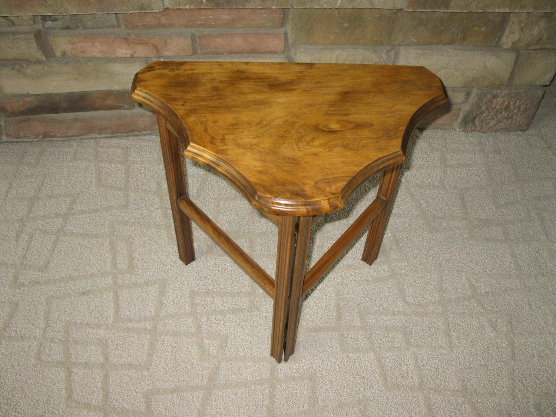 Unique FOLDING Half Moon Side Table Vintage 3 Legged Table